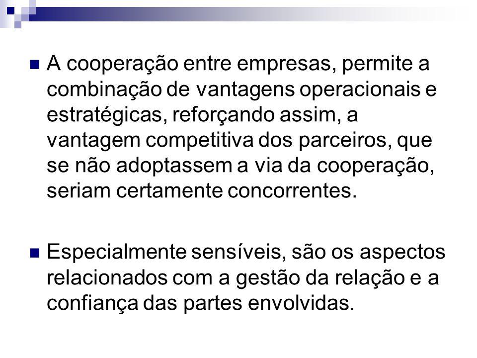 A cooperação entre empresas, permite a combinação de vantagens operacionais e estratégicas, reforçando assim, a vantagem competitiva dos parceiros, qu