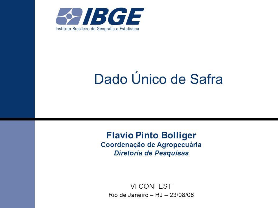 DPE / COAGRO LSPA Dado Único de Safra Flavio Pinto Bolliger Coordenação de Agropecuária Diretoria de Pesquisas VI CONFEST Rio de Janeiro – RJ – 23/08/06