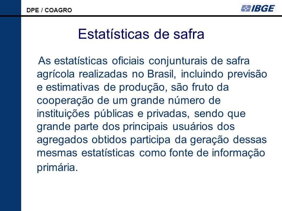 DPE / COAGRO LSPA Estatísticas de safra As estatísticas oficiais conjunturais de safra agrícola realizadas no Brasil, incluindo previsão e estimativas de produção, são fruto da cooperação de um grande número de instituições públicas e privadas, sendo que grande parte dos principais usuários dos agregados obtidos participa da geração dessas mesmas estatísticas como fonte de informação primária.