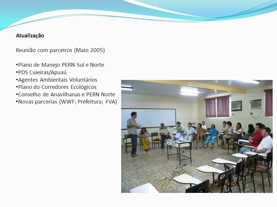 Atualização Reunião com parceiros (Maio 2005) Plano de Manejo PERN Sul e Norte PDS Cuieiras/Apuaú Agentes Ambientais Voluntários Plano do Corredores Ecológicos Conselho de Anavilhanas e PERN Norte Novas parcerias (WWF; Prefeitura; FVA)