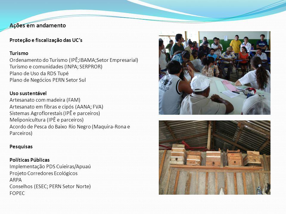Ações em andamento Proteção e fiscalização das UC's Turismo Ordenamento do Turismo (IPÊ;IBAMA;Setor Empresarial) Turismo e comunidades (INPA; SERPROR) Plano de Uso da RDS Tupé Plano de Negócios PERN Setor Sul Uso sustentável Artesanato com madeira (FAM) Artesanato em fibras e cipós (AANA; FVA) Sistemas Agroflorestais (IPÊ e parceiros) Meliponicultura (IPÊ e parceiros) Acordo de Pesca do Baixo Rio Negro (Maquira-Rona e Parceiros) Pesquisas Políticas Públicas Implementação PDS Cuieiras/Apuaú Projeto Corredores Ecológicos ARPA Conselhos (ESEC; PERN Setor Norte) FOPEC