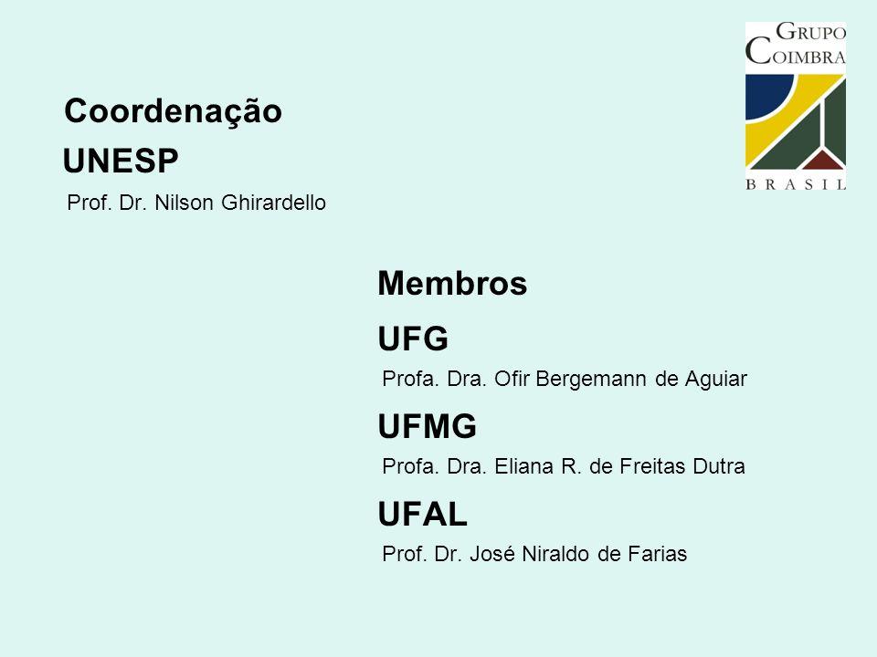 Coordenação UNESP Prof. Dr. Nilson Ghirardello Membros UFG Profa. Dra. Ofir Bergemann de Aguiar UFMG Profa. Dra. Eliana R. de Freitas Dutra UFAL Prof.