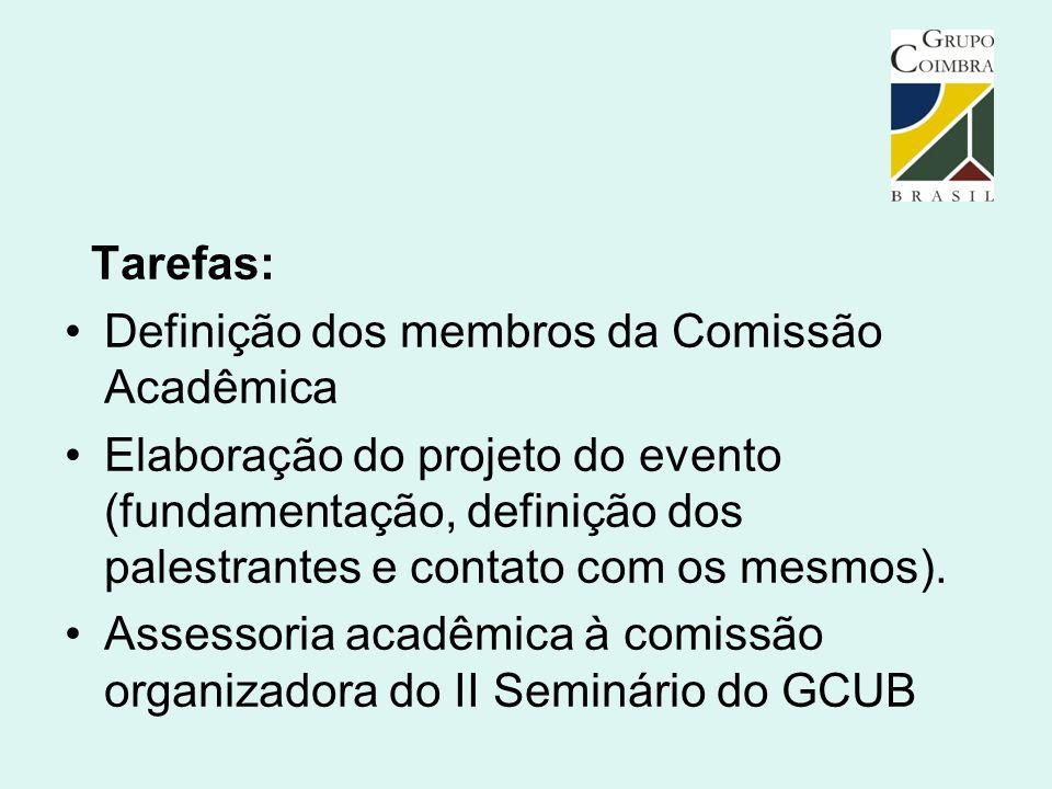 Tarefas: Definição dos membros da Comissão Acadêmica Elaboração do projeto do evento (fundamentação, definição dos palestrantes e contato com os mesmo