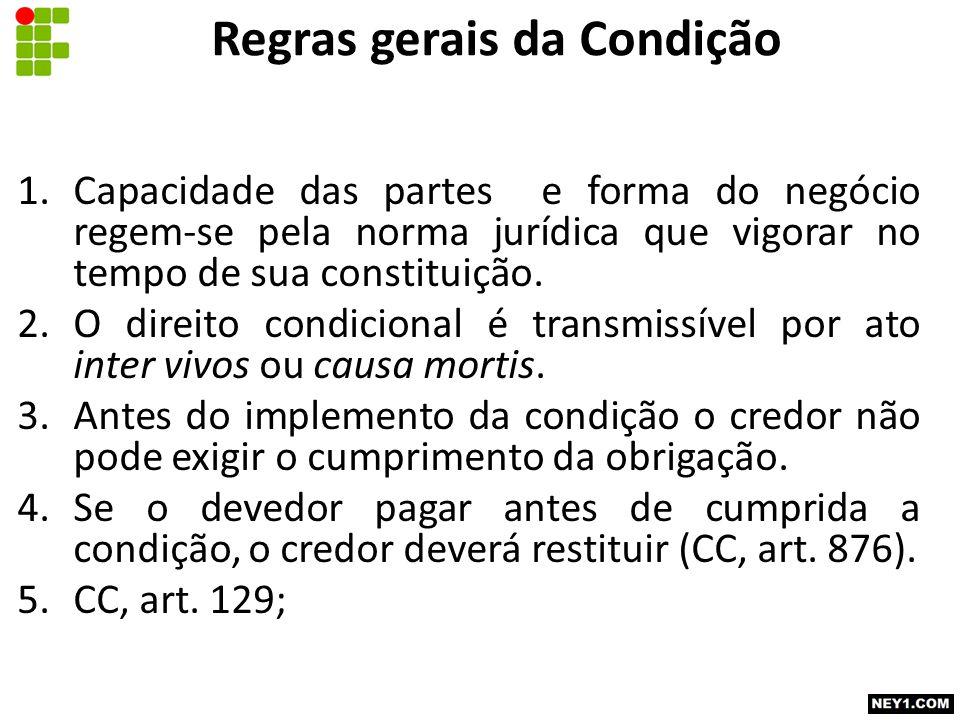 Regras gerais da Condição 1.Capacidade das partes e forma do negócio regem-se pela norma jurídica que vigorar no tempo de sua constituição.