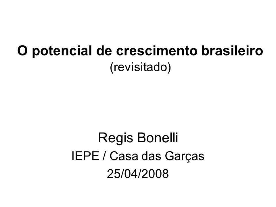 O potencial de crescimento brasileiro (revisitado) Regis Bonelli IEPE / Casa das Garças 25/04/2008