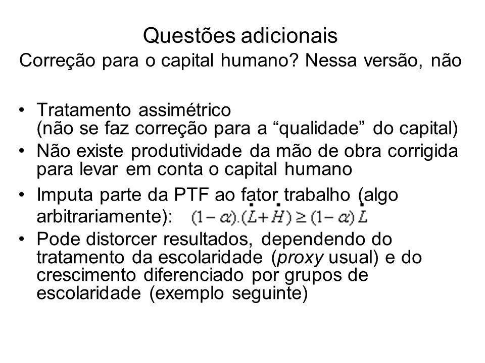 Questões adicionais Correção para o capital humano.
