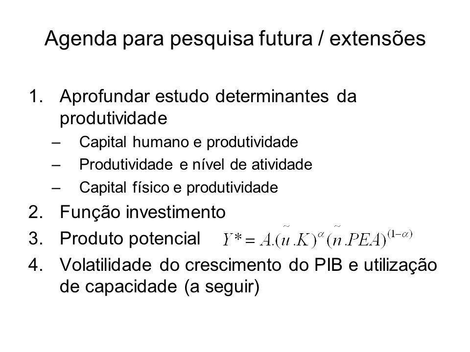 Agenda para pesquisa futura / extensões 1.Aprofundar estudo determinantes da produtividade –Capital humano e produtividade –Produtividade e nível de atividade –Capital físico e produtividade 2.Função investimento 3.Produto potencial 4.Volatilidade do crescimento do PIB e utilização de capacidade (a seguir)