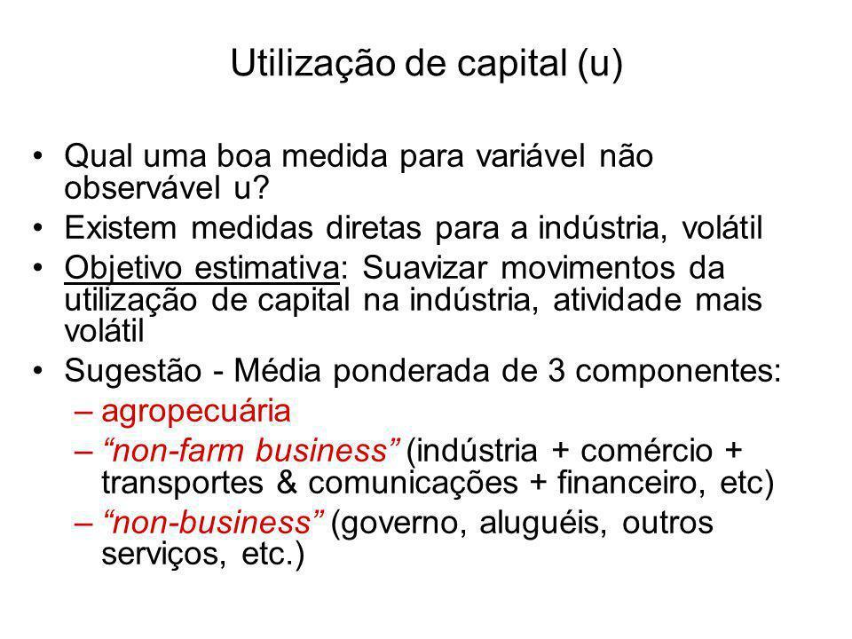 Utilização de capital (u) Qual uma boa medida para variável não observável u? Existem medidas diretas para a indústria, volátil Objetivo estimativa: S
