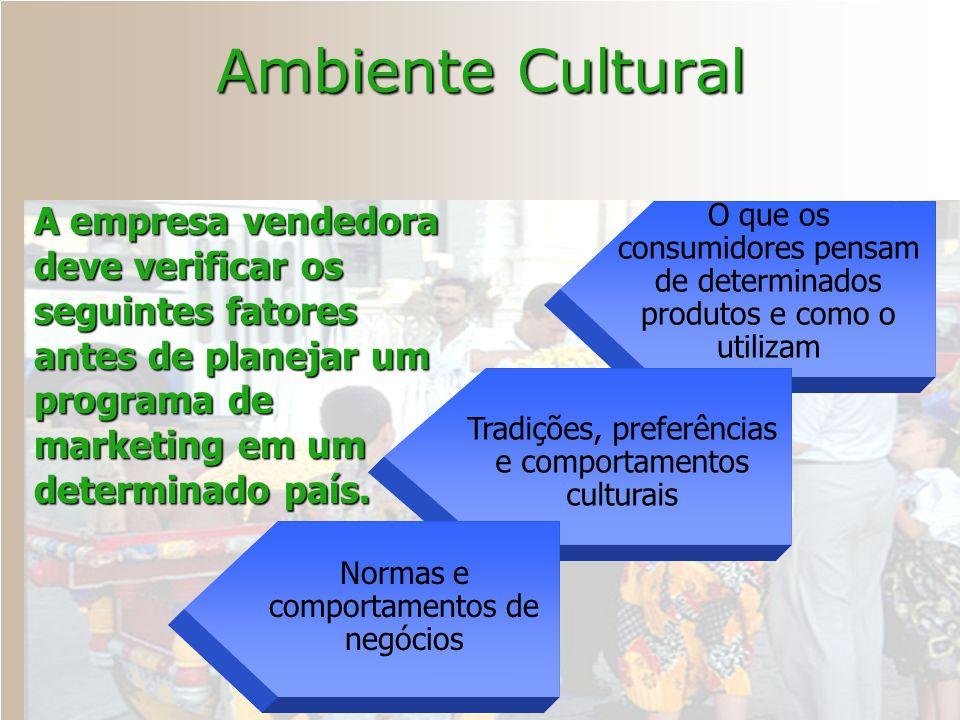 Ambiente Cultural O que os consumidores pensam de determinados produtos e como o utilizam Tradições, preferências e comportamentos culturais Normas e