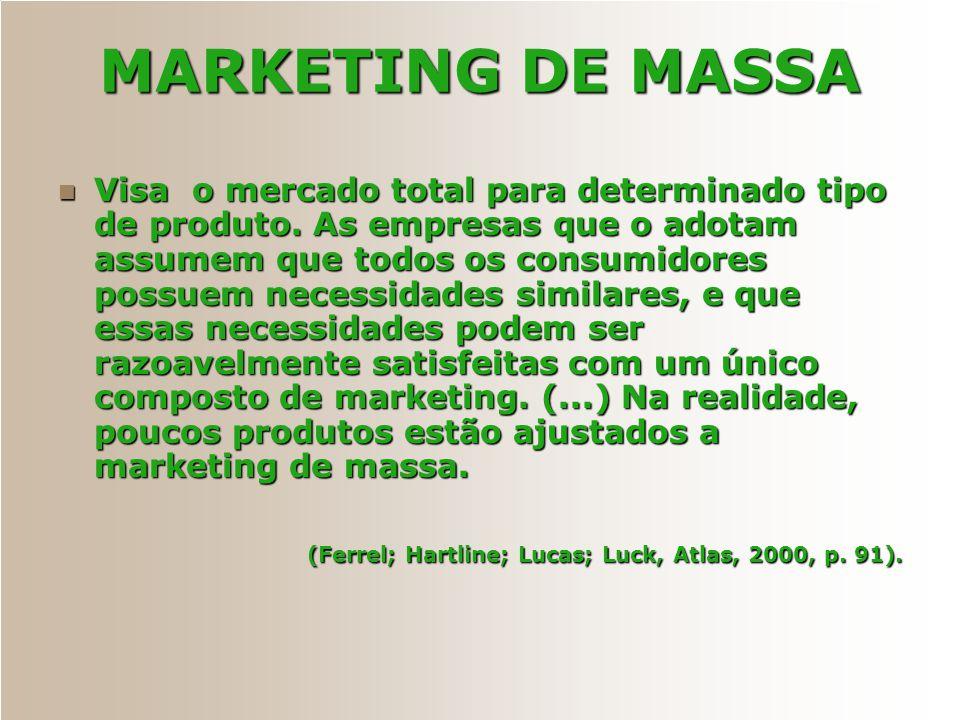 MARKETING DE MASSA Visa o mercado total para determinado tipo de produto. As empresas que o adotam assumem que todos os consumidores possuem necessida