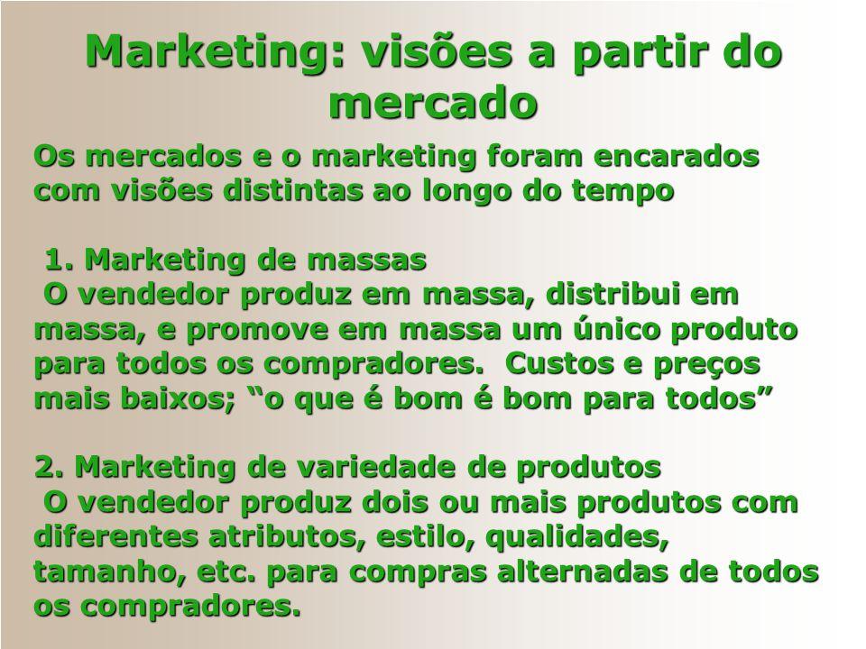 Os mercados e o marketing foram encarados com visões distintas ao longo do tempo 1. Marketing de massas 1. Marketing de massas O vendedor produz em ma