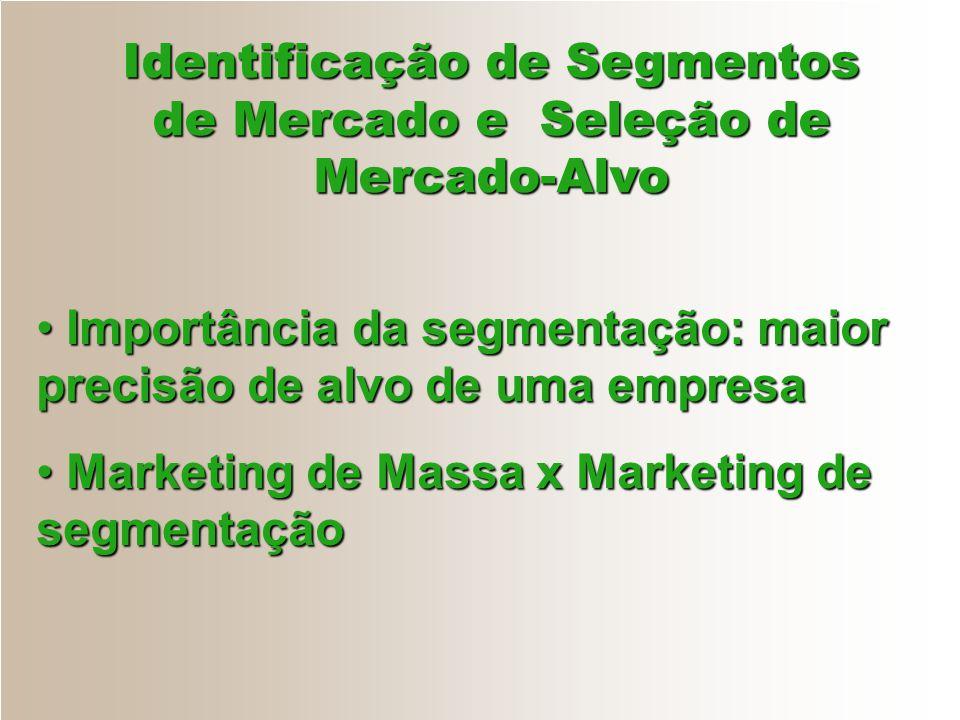 Identificação de Segmentos de Mercado e Seleção de Mercado-Alvo Importância da segmentação: maior precisão de alvo de uma empresa Importância da segme
