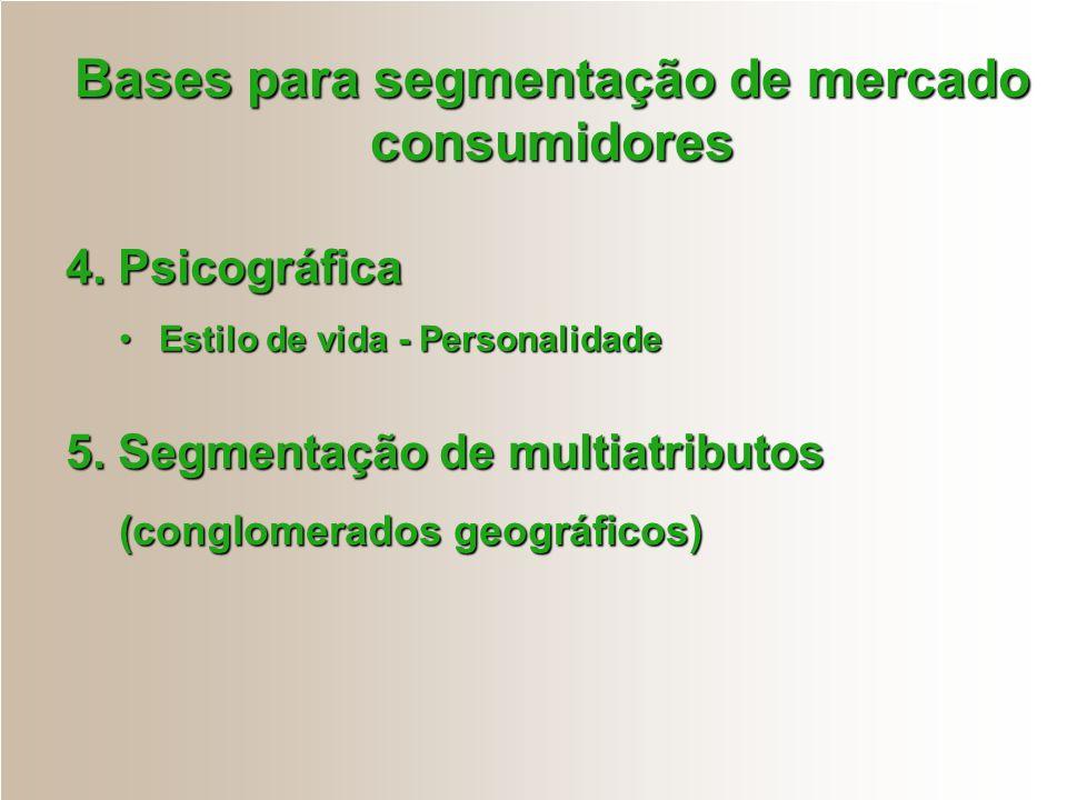 Bases para segmentação de mercado consumidores 4. Psicográfica Estilo de vida - PersonalidadeEstilo de vida - Personalidade 5. Segmentação de multiatr