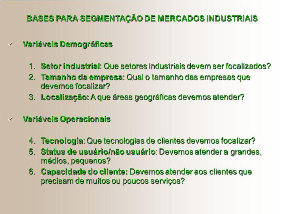 BASES PARA SEGMENTAÇÃO DE MERCADOS INDUSTRIAIS Variáveis Demográficas Variáveis Demográficas 1.Setor industrial: Que setores industriais devem ser foc