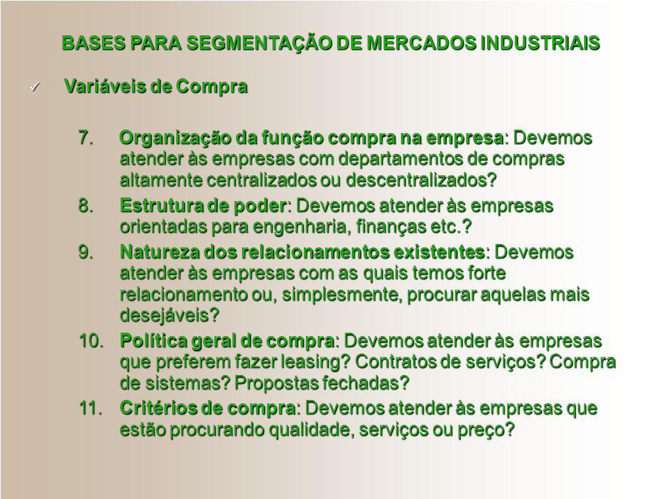 BASES PARA SEGMENTAÇÃO DE MERCADOS INDUSTRIAIS Variáveis de Compra Variáveis de Compra 7. Organização da função compra na empresa: Devemos atender às