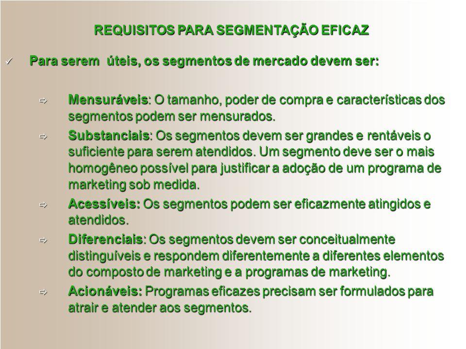 REQUISITOS PARA SEGMENTAÇÃO EFICAZ Para serem úteis, os segmentos de mercado devem ser: Para serem úteis, os segmentos de mercado devem ser:  Mensurá