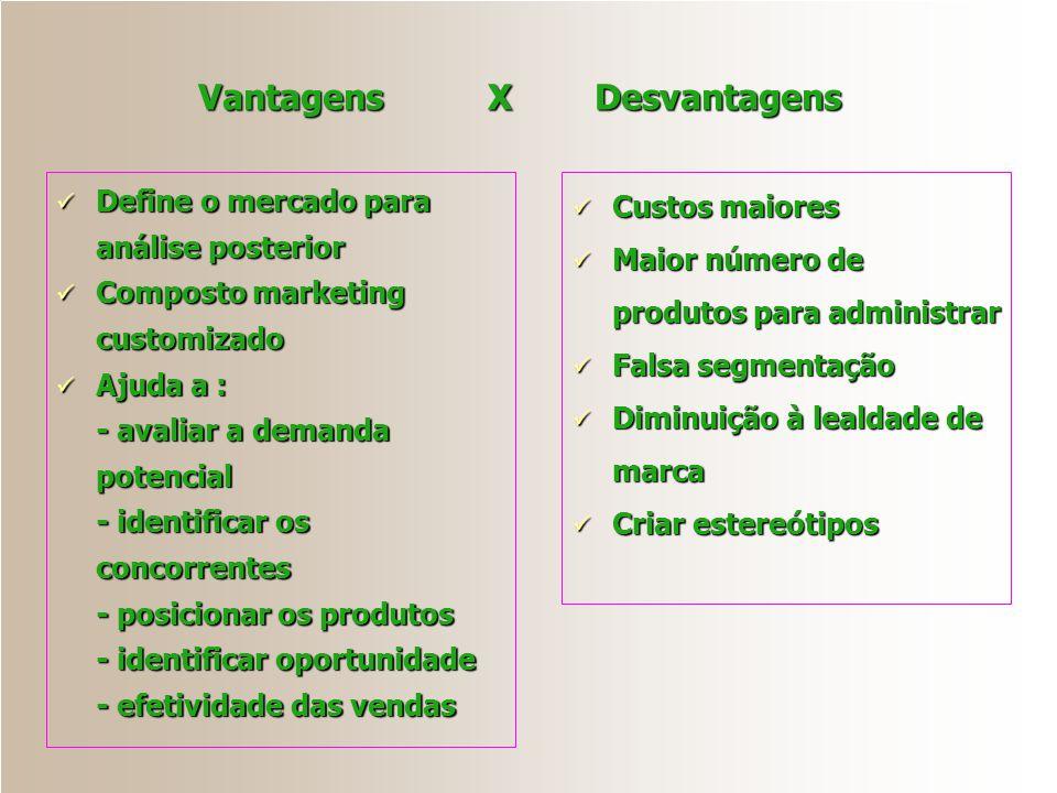 Vantagens X Desvantagens Define o mercado para análise posterior Define o mercado para análise posterior Composto marketing customizado Composto marke