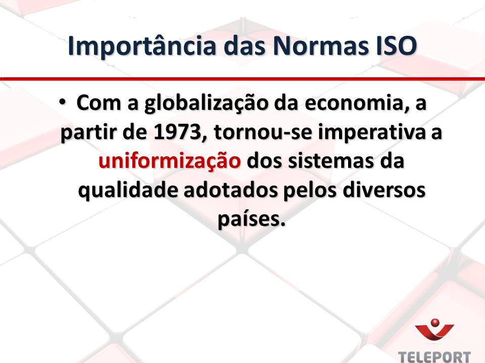Importância das Normas ISO Com a globalização da economia, a partir de 1973, tornou-se imperativa a uniformização dos sistemas da qualidade adotados p