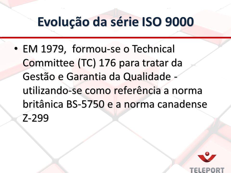 Evolução da série ISO 9000 EM 1979, formou-se o Technical Committee (TC) 176 para tratar da Gestão e Garantia da Qualidade - utilizando-se como referência a norma britânica BS-5750 e a norma canadense Z-299 EM 1979, formou-se o Technical Committee (TC) 176 para tratar da Gestão e Garantia da Qualidade - utilizando-se como referência a norma britânica BS-5750 e a norma canadense Z-299