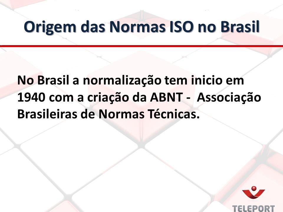 Origem das Normas ISO no Brasil No Brasil a normalização tem inicio em 1940 com a criação da ABNT - Associação Brasileiras de Normas Técnicas.