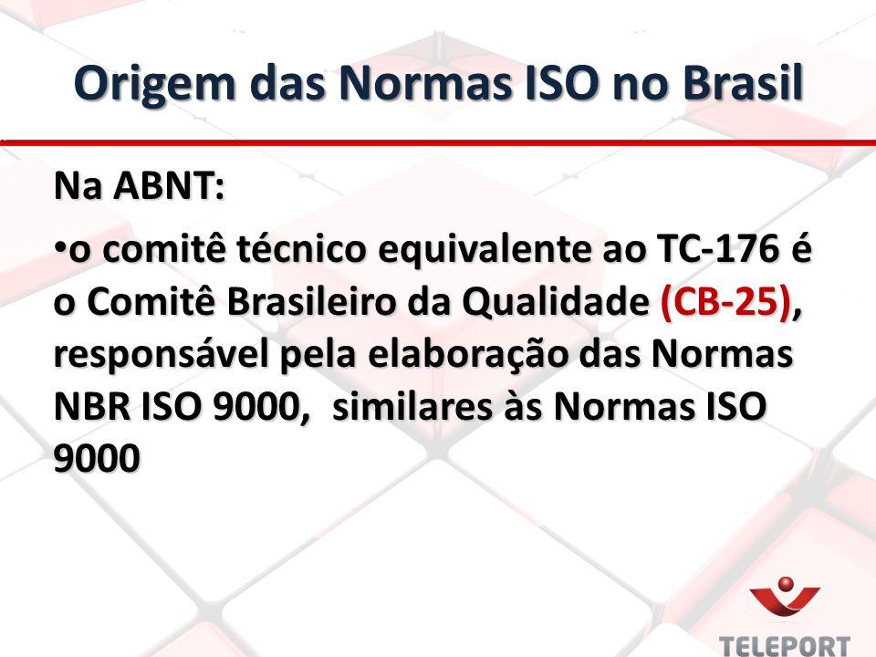 Origem das Normas ISO no Brasil Na ABNT: o comitê técnico equivalente ao TC-176 é o Comitê Brasileiro da Qualidade (CB-25), responsável pela elaboração das Normas NBR ISO 9000, similares às Normas ISO 9000 o comitê técnico equivalente ao TC-176 é o Comitê Brasileiro da Qualidade (CB-25), responsável pela elaboração das Normas NBR ISO 9000, similares às Normas ISO 9000
