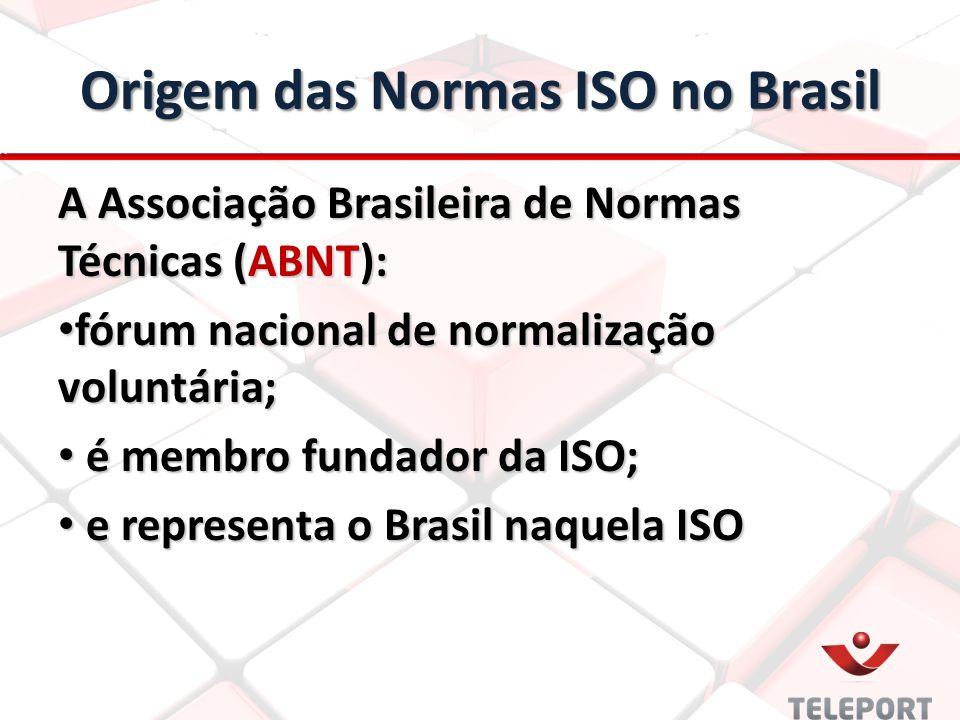 Origem das Normas ISO no Brasil A Associação Brasileira de Normas Técnicas (ABNT): fórum nacional de normalização voluntária; fórum nacional de normalização voluntária; é membro fundador da ISO; é membro fundador da ISO; e representa o Brasil naquela ISO e representa o Brasil naquela ISO