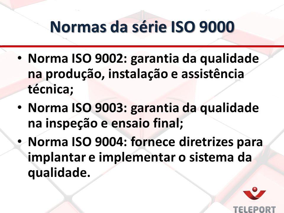 Normas da série ISO 9000 Norma ISO 9002: garantia da qualidade na produção, instalação e assistência técnica; Norma ISO 9003: garantia da qualidade na inspeção e ensaio final; Norma ISO 9004: fornece diretrizes para implantar e implementar o sistema da qualidade.