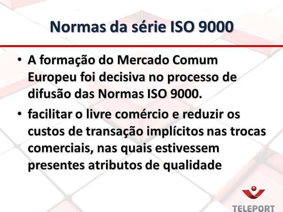 Normas da série ISO 9000 A formação do Mercado Comum Europeu foi decisiva no processo de difusão das Normas ISO 9000. A formação do Mercado Comum Euro