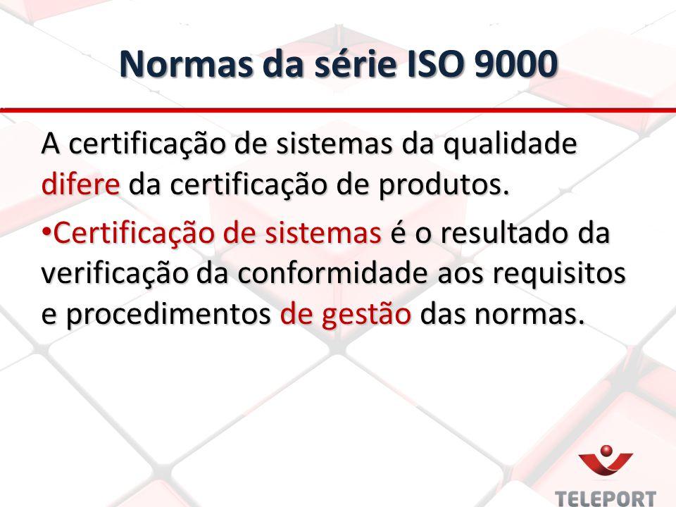 Normas da série ISO 9000 A certificação de sistemas da qualidade difere da certificação de produtos. Certificação de sistemas é o resultado da verific