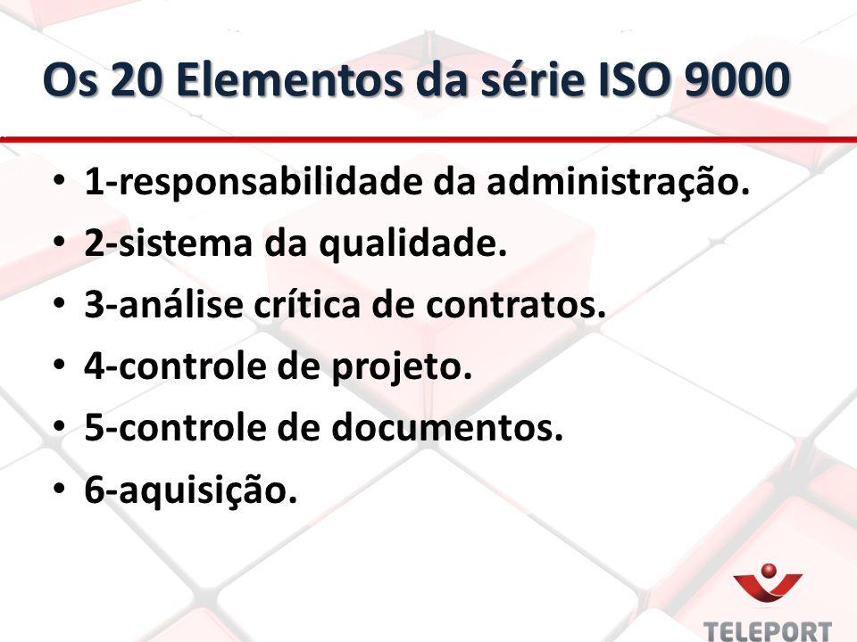 Os 20 Elementos da série ISO 9000 1-responsabilidade da administração. 2-sistema da qualidade. 3-análise crítica de contratos. 4-controle de projeto.