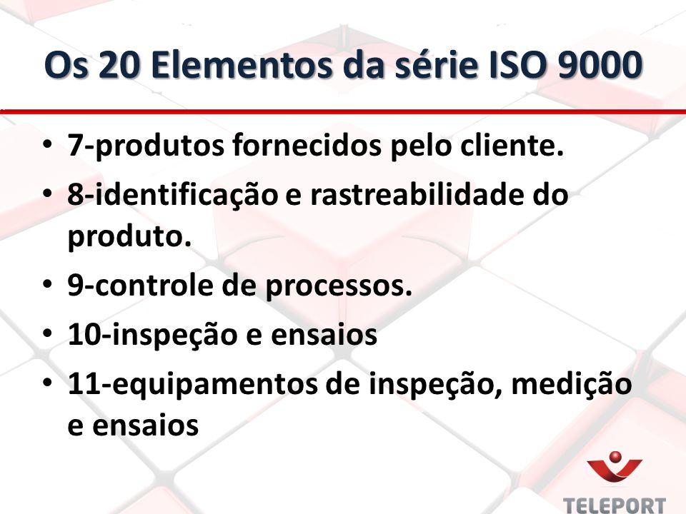 Os 20 Elementos da série ISO 9000 7-produtos fornecidos pelo cliente. 8-identificação e rastreabilidade do produto. 9-controle de processos. 10-inspeç