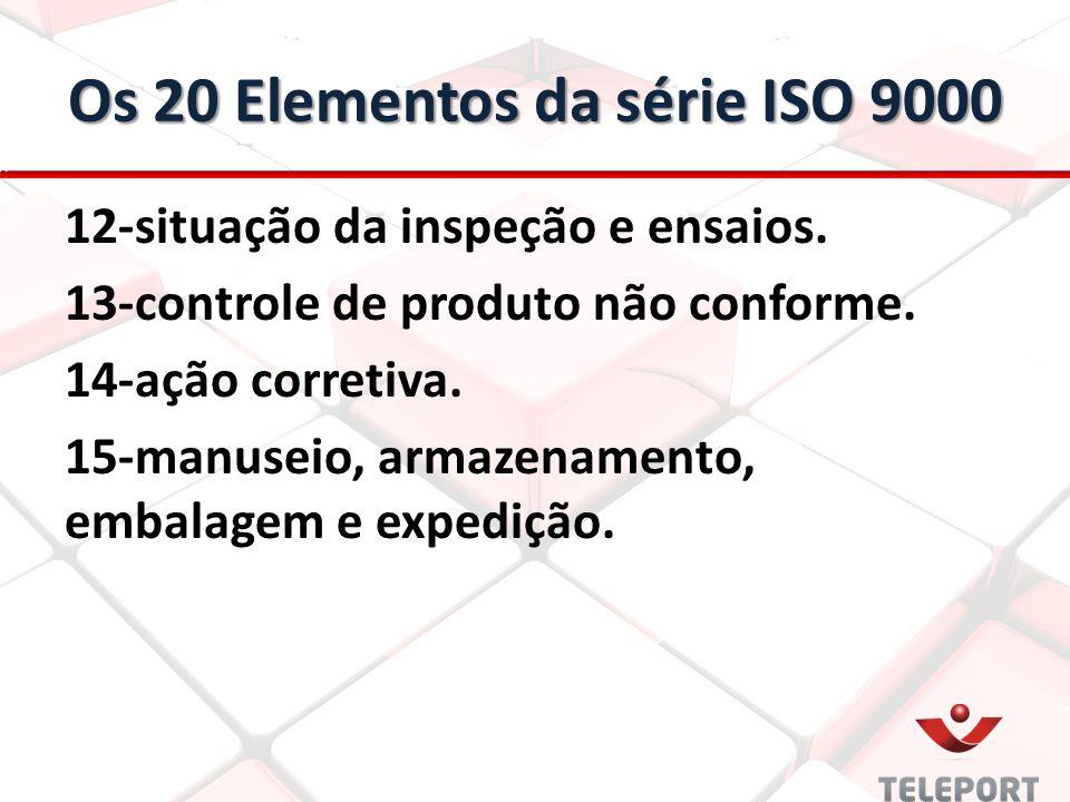 Os 20 Elementos da série ISO 9000 12-situação da inspeção e ensaios. 13-controle de produto não conforme. 14-ação corretiva. 15-manuseio, armazenament