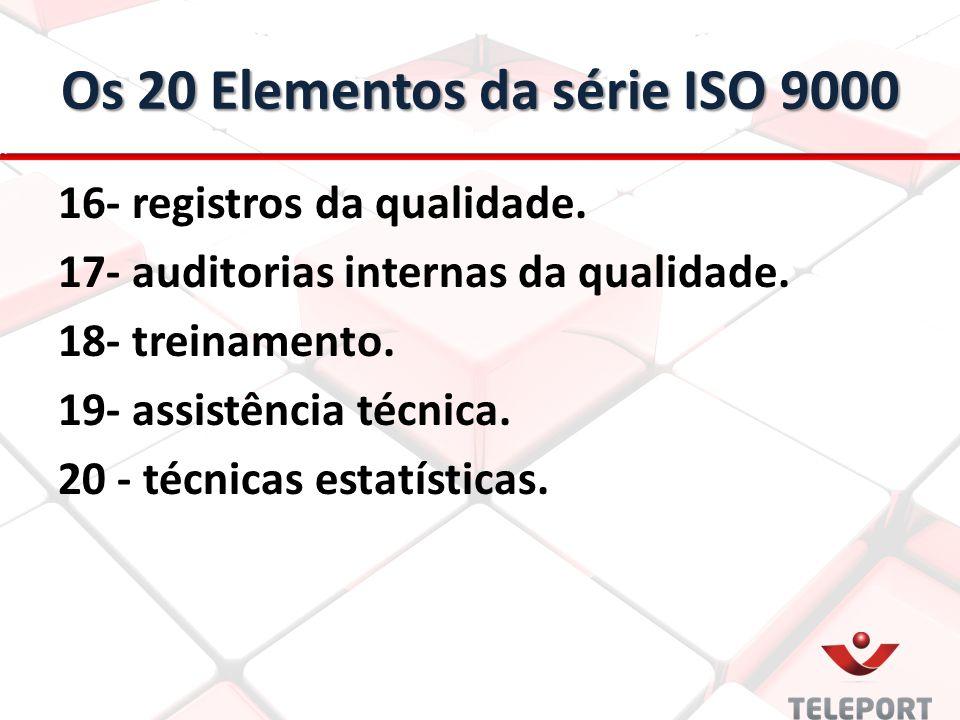 Os 20 Elementos da série ISO 9000 16- registros da qualidade. 17- auditorias internas da qualidade. 18- treinamento. 19- assistência técnica. 20 - téc