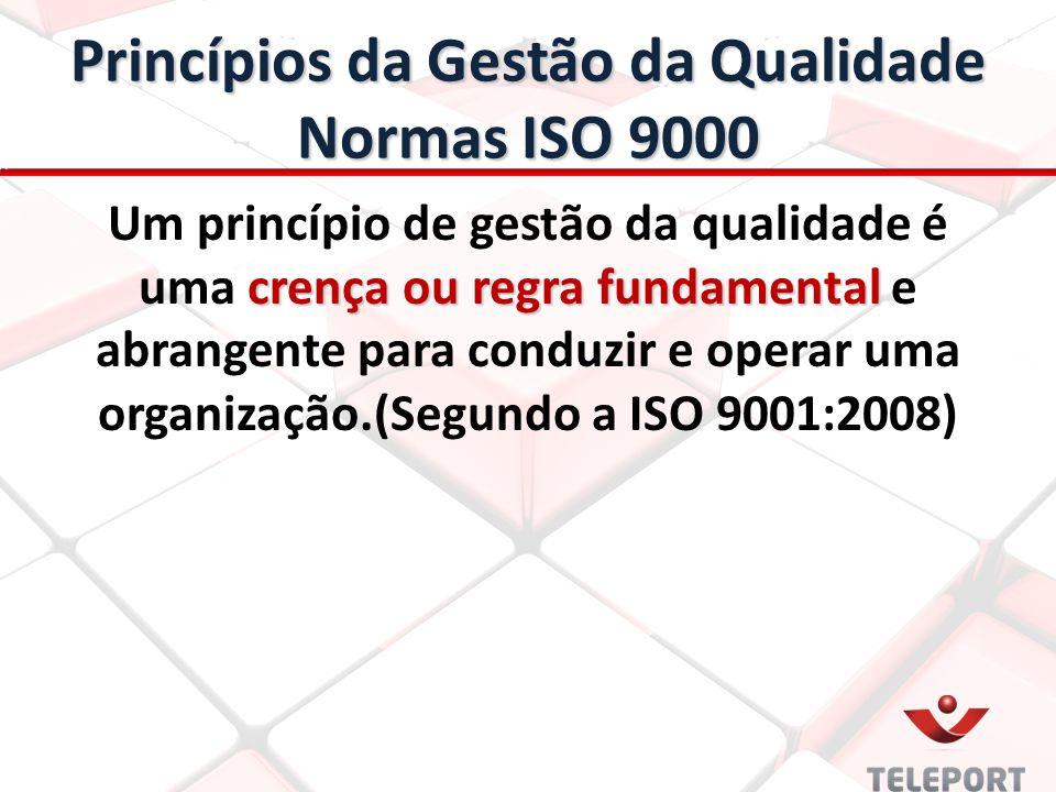 Princípios da Gestão da Qualidade Normas ISO 9000 crença ou regra fundamental Um princípio de gestão da qualidade é uma crença ou regra fundamental e abrangente para conduzir e operar uma organização.(Segundo a ISO 9001:2008)