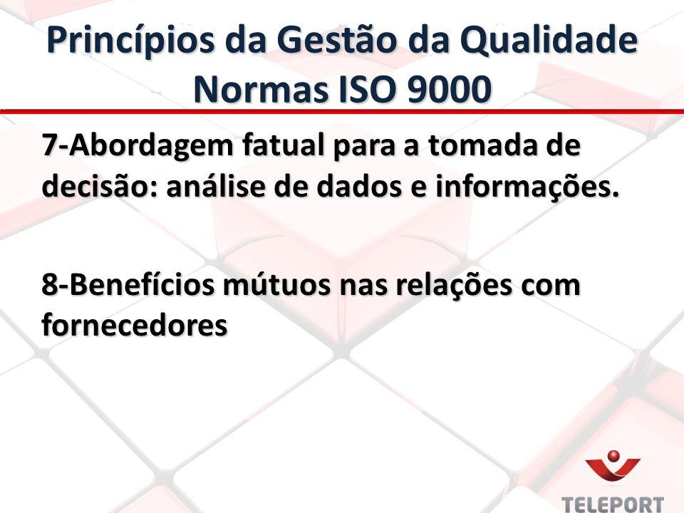 Princípios da Gestão da Qualidade Normas ISO 9000 7-Abordagem fatual para a tomada de decisão: análise de dados e informações. 8-Benefícios mútuos nas