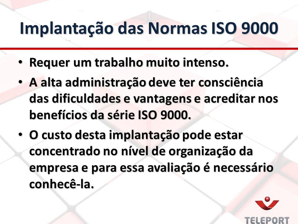 Implantação das Normas ISO 9000 Requer um trabalho muito intenso. Requer um trabalho muito intenso. A alta administração deve ter consciência das difi