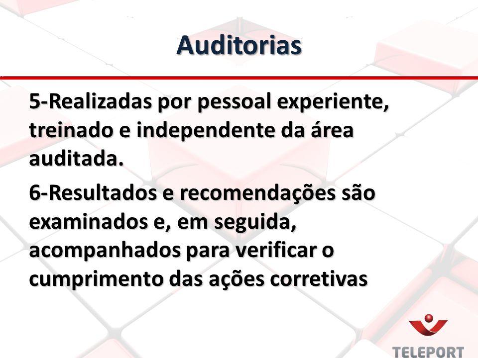 Auditorias 5-Realizadas por pessoal experiente, treinado e independente da área auditada. 6-Resultados e recomendações são examinados e, em seguida, a