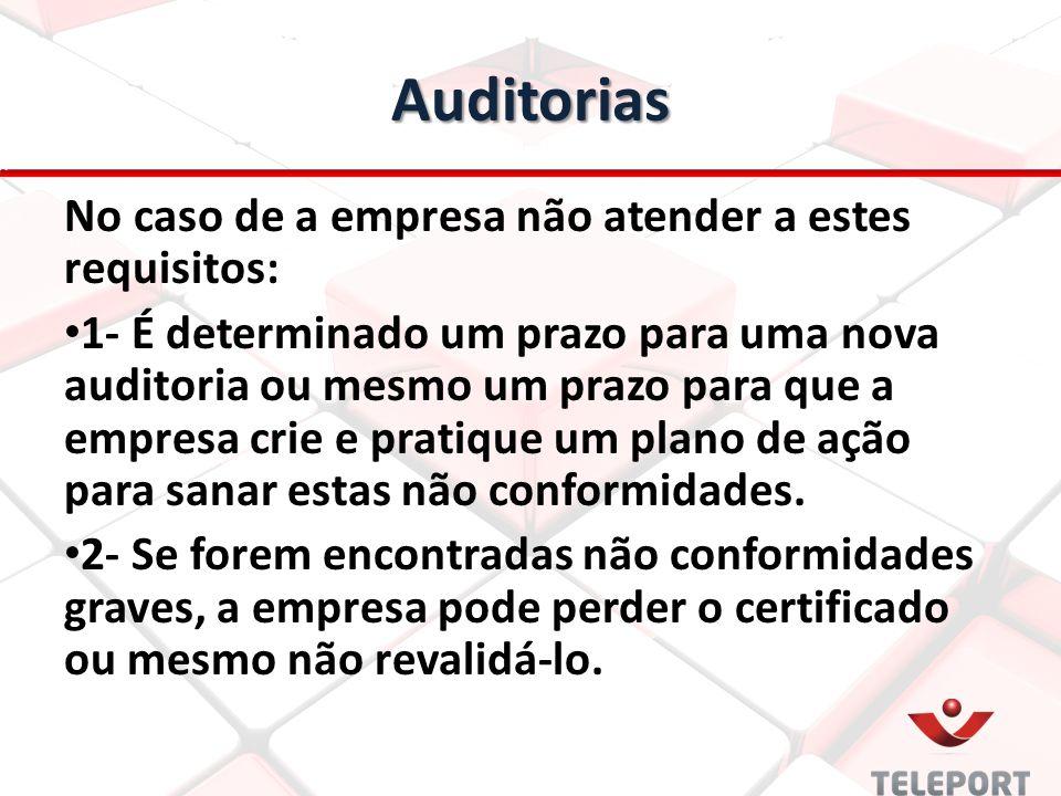 Auditorias No caso de a empresa não atender a estes requisitos: 1- É determinado um prazo para uma nova auditoria ou mesmo um prazo para que a empresa crie e pratique um plano de ação para sanar estas não conformidades.