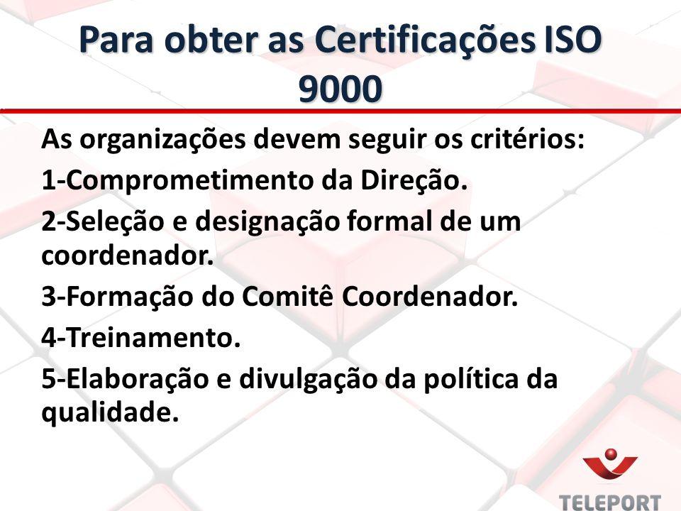 Para obter as Certificações ISO 9000 As organizações devem seguir os critérios: 1-Comprometimento da Direção. 2-Seleção e designação formal de um coor