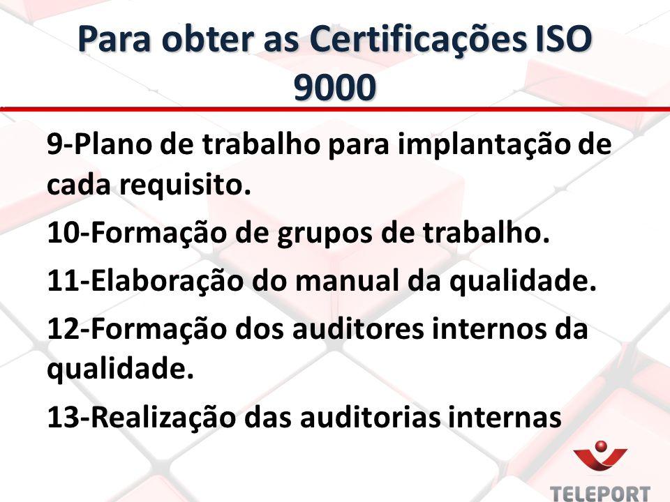 Para obter as Certificações ISO 9000 9-Plano de trabalho para implantação de cada requisito. 10-Formação de grupos de trabalho. 11-Elaboração do manua
