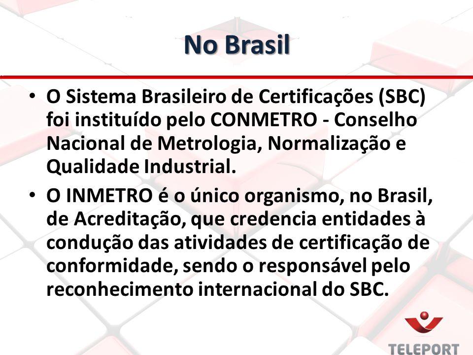 No Brasil O Sistema Brasileiro de Certificações (SBC) foi instituído pelo CONMETRO - Conselho Nacional de Metrologia, Normalização e Qualidade Industr