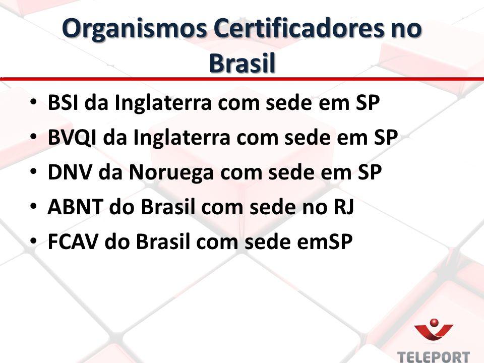 Organismos Certificadores no Brasil BSI da Inglaterra com sede em SP BVQI da Inglaterra com sede em SP DNV da Noruega com sede em SP ABNT do Brasil com sede no RJ FCAV do Brasil com sede emSP