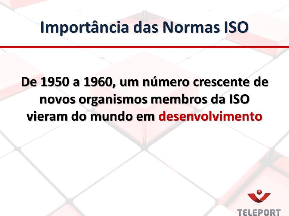 Importância das Normas ISO De 1950 a 1960, um número crescente de novos organismos membros da ISO vieram do mundo em desenvolvimento