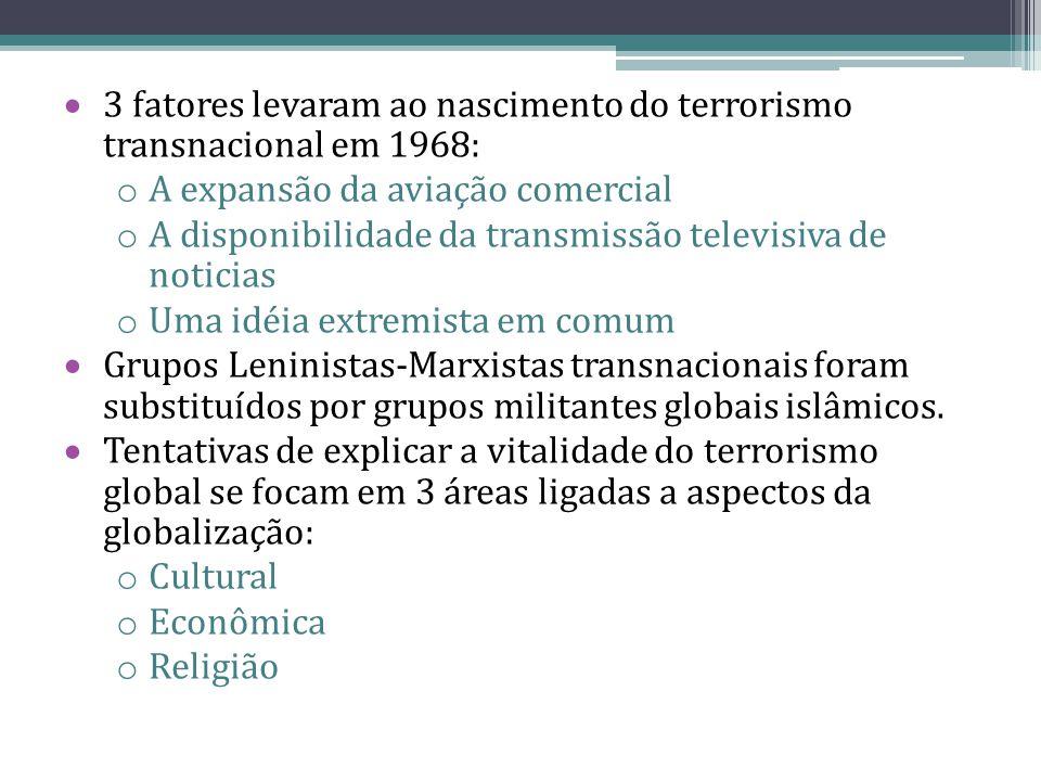  3 fatores levaram ao nascimento do terrorismo transnacional em 1968: o A expansão da aviação comercial o A disponibilidade da transmissão televisiva de noticias o Uma idéia extremista em comum  Grupos Leninistas-Marxistas transnacionais foram substituídos por grupos militantes globais islâmicos.