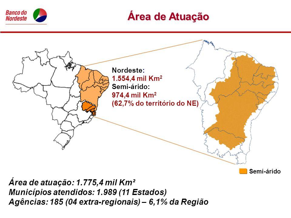 Área de Atuação Nordeste: 1.554,4 mil Km 2 Semi-árido: 974,4 mil Km 2 (62,7% do território do NE) Área de atuação: 1.775,4 mil Km² Municípios atendido