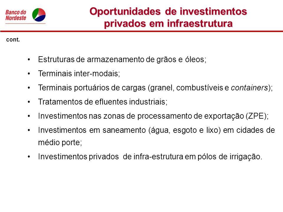 Oportunidades de investimentos privados em infraestrutura Estruturas de armazenamento de grãos e óleos; Terminais inter-modais; Terminais portuários d
