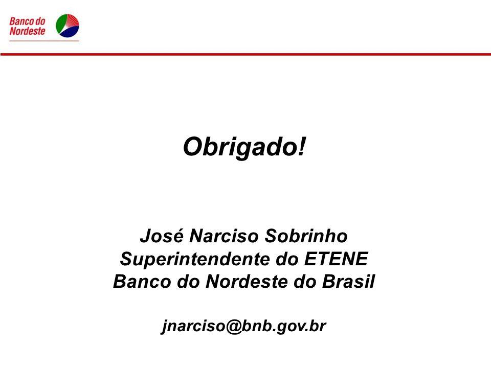 Obrigado! José Narciso Sobrinho Superintendente do ETENE Banco do Nordeste do Brasil jnarciso@bnb.gov.br