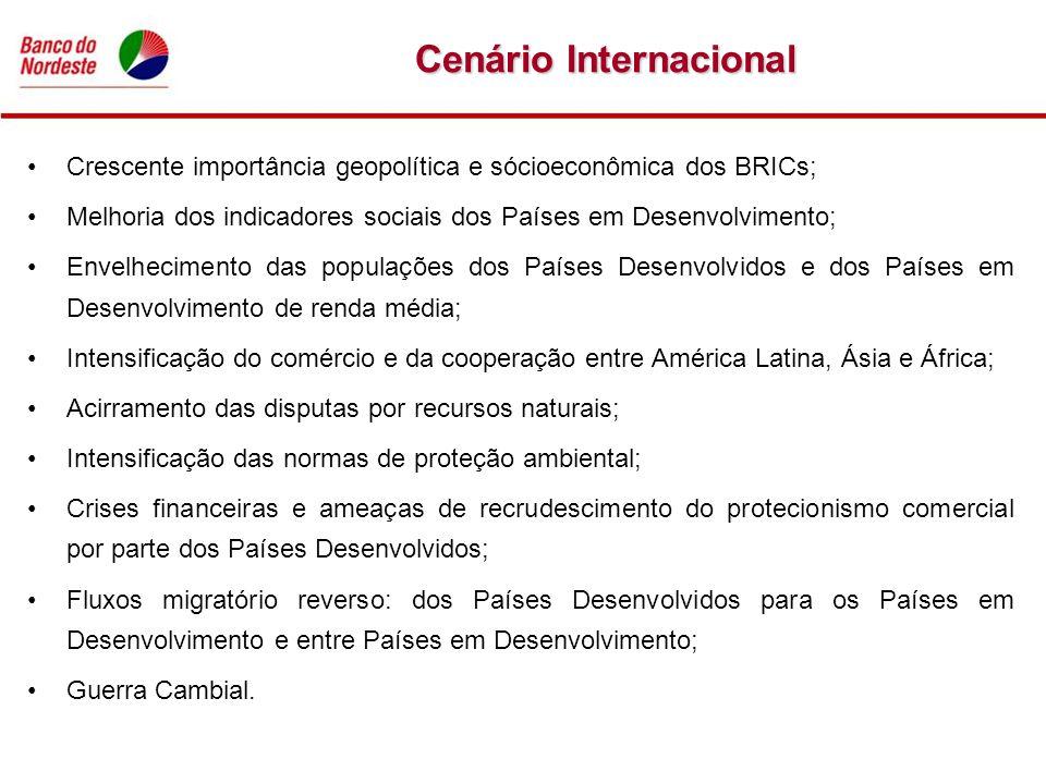 Cenário Internacional Crescente importância geopolítica e sócioeconômica dos BRICs; Melhoria dos indicadores sociais dos Países em Desenvolvimento; En
