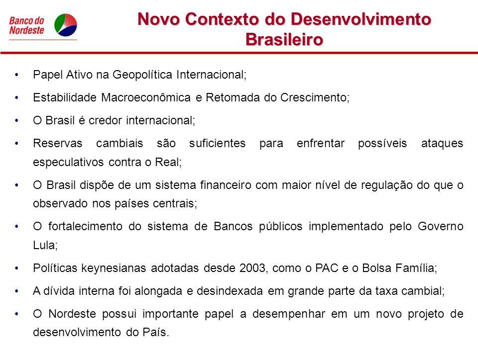 Papel Ativo na Geopolítica Internacional; Estabilidade Macroeconômica e Retomada do Crescimento; O Brasil é credor internacional; Reservas cambiais sã