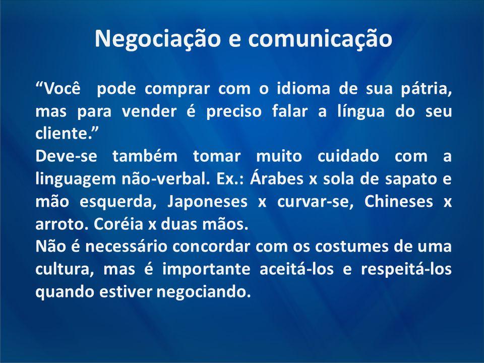 """Negociação e comunicação """"Você pode comprar com o idioma de sua pátria, mas para vender é preciso falar a língua do seu cliente."""" Deve-se também tomar"""